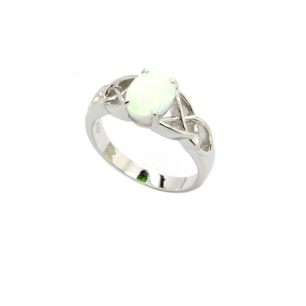 925 SILVER SIMULATED WHITE OPAL CALTIC RINGS-11CZ03-K17-11OP24