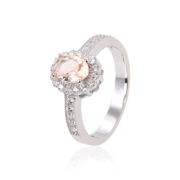 925 SILVER MORGANITE HALO RING-11CZ78-MOR
