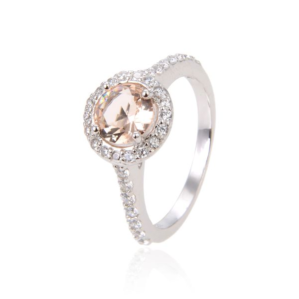 925 SILVER MORGANITE, HALO RING-11CZ86-MOR-OPAL