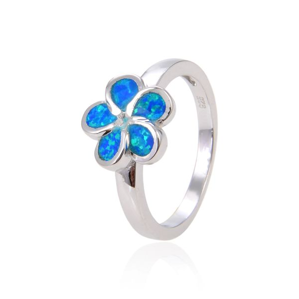 925 STERLING SILVER SIMILATED INLAID OPAL PLUMERIA FLOWER RING-11OP01-K5