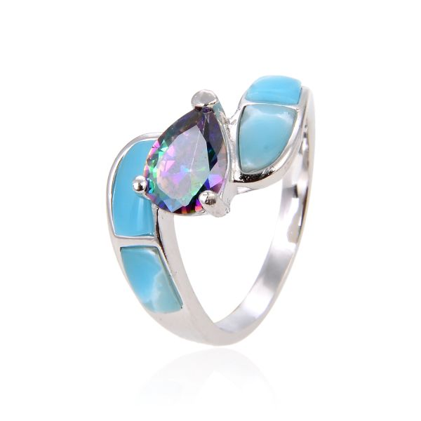 925 SILVER NATURAL INLAID LARIMAR AND CZ MYSTIC CENTER STONE RING-11OP06-LA