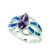 925 Sterling Silver Simulated Opal Leaf Ringwith color CZ amethyst stone-11OP44-CZ09