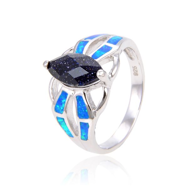 925 SILVER SIMULATED INLAID OPAL WITH BLUE SAND STONE -11OP44-BLS