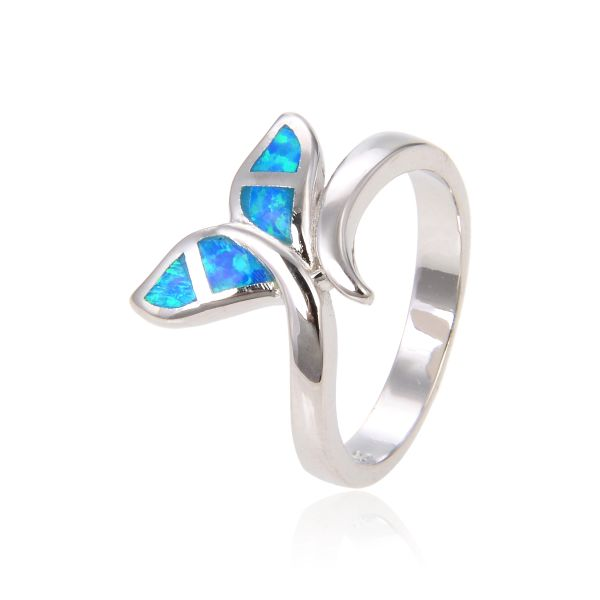 925 SILVER SIMULATED INLAID OPAL WHALE TAIL RING -SEA LIFE - 11OP100-K5