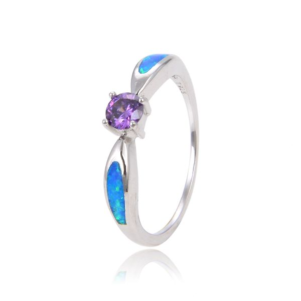 925 SILVER SIMULATED INLAID OPAL RING WITH AMEHYST -11OP119-CZ09