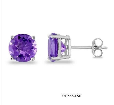 Butterfly Back 4 Prong Round Casting Amethyst Cubic Zirconia Stud Earrings 925 Sterling Silver 22cz22-5mm-AMT
