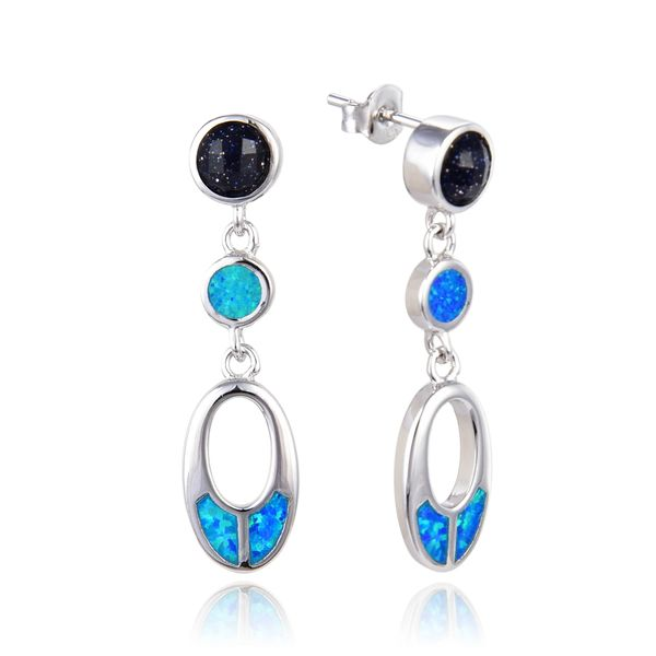 925 SILVER SIMULATED OPAL & BLUE SAND STONE DROP EARRINGS-22OP44B-K5-BST
