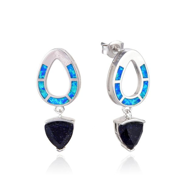 925 SILVER SIMULATED BLUE INLAID OPAL & BLUE SAND EARRINGS-22OP50-K5-BST