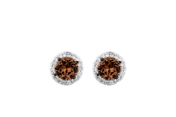 925 SILVER ZULTNITE CHANGING COLOR STONE, HALO STUD EARRING- 22OP55-204