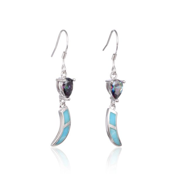925 SILVER INLAID LARIMAR AND CZ MYSTIC STONE DROP EARRINGS - 22OP61-LA