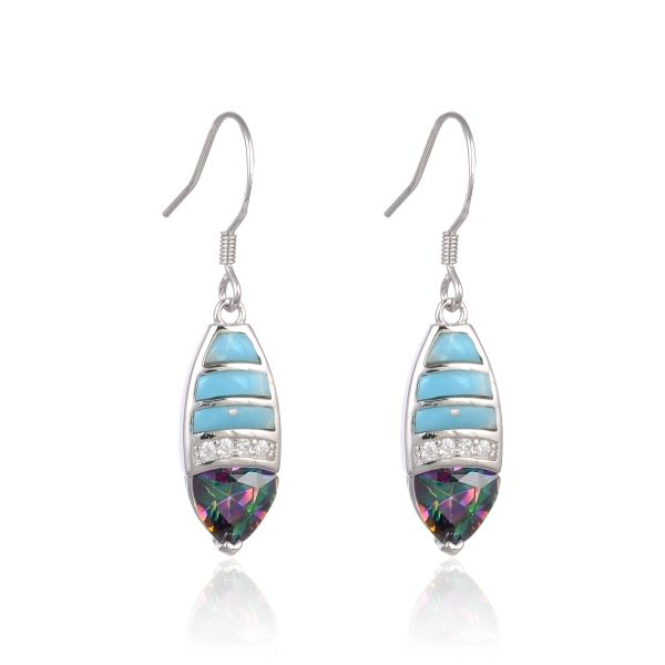 925 SILVER INLAID LARIMAR LONG EARRINGS WITH COLOR STONE -22OP63-LA
