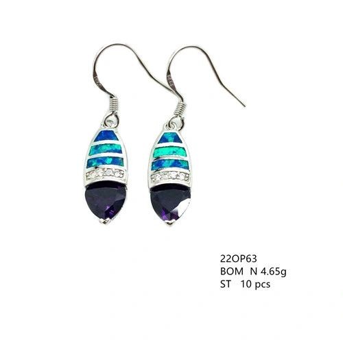 925 SILVER INLAID SIMULATED BLUE OPAL LONG EARRINGS WITH CZ AMETHYST -22OP63-K5-09
