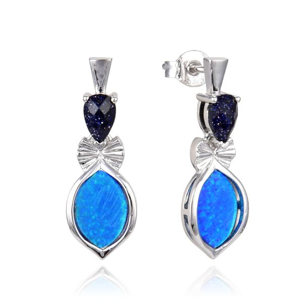925 SILVER SIMULATED BLUE OPAL WITH BLUE SAND STONE - 22OP68-K5-BLS