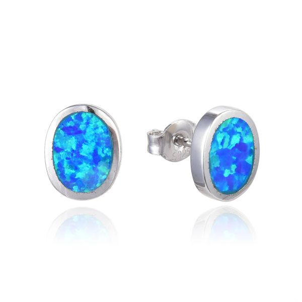 925 SILVER BLUE OPAL OVAL STUD EARRINGS - 22OP83-K5