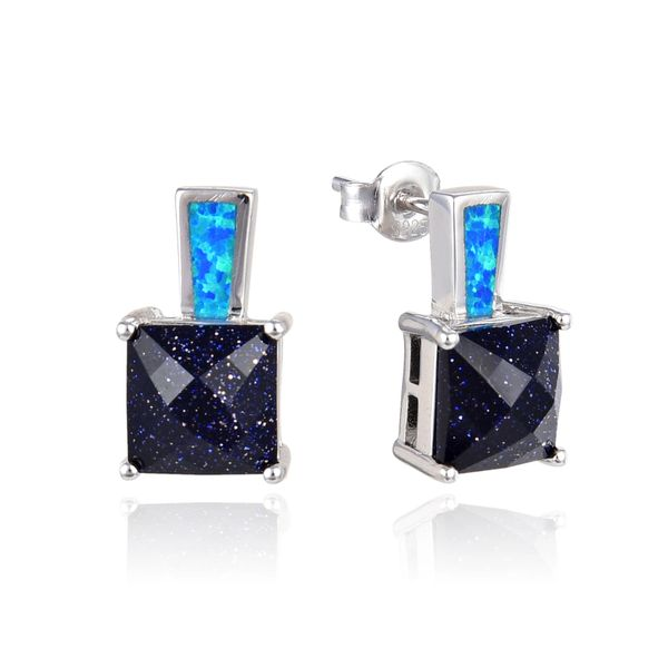 925 SILVER SIMULATED BLUE OPAL WITH BLUE SAND STONE EARRINGS -22OP89-K5-BSD