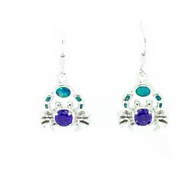 925 SILVER SIMULATED BLUE INLAID BLUE OPAL AMETHYST CRAB, SEA LIFE EARRINGS- 22OP07-K5