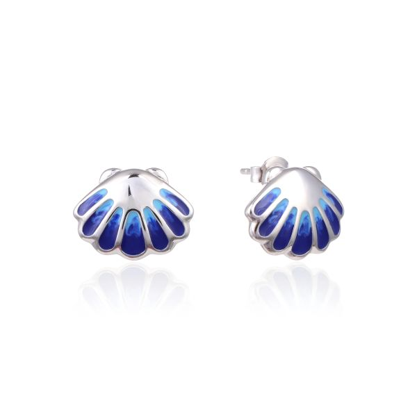 925 SILVER ENAMEL BLUE SHELL STYLE SILVER EARRINGS-22OP93-EN