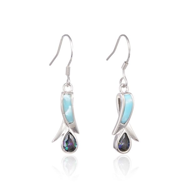 925 SILVER NATURAL LARIMAR TULIP STYLE , INLAID SETTING W/ CZ MYSTIC SILVER EARRINGS-22OP97-LA