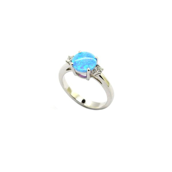 925 SILVER SIMULATED OPAL Solitaire Ring, 11OP28-K6