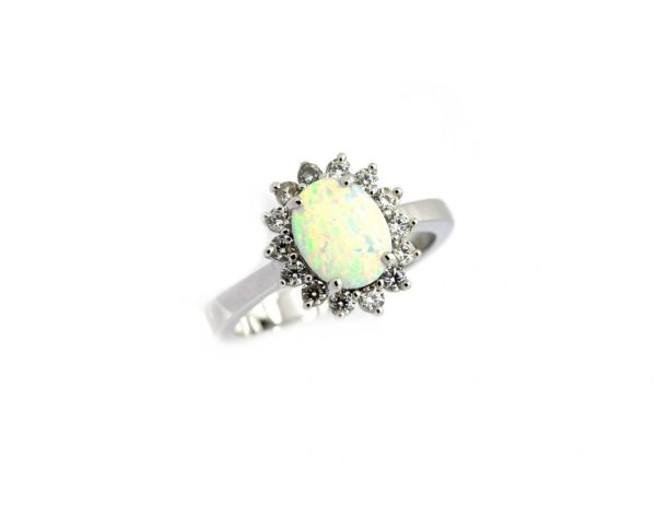 925 SILVER SIMULATED PRINCESS OVAL SHAPE WHITE OPAL RING-11OP30-K17
