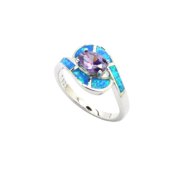 925 SILVER SIMULTAED INLAID OPAL RING WITH CZ AMETHYST CENTER STONE-11OP74-K5
