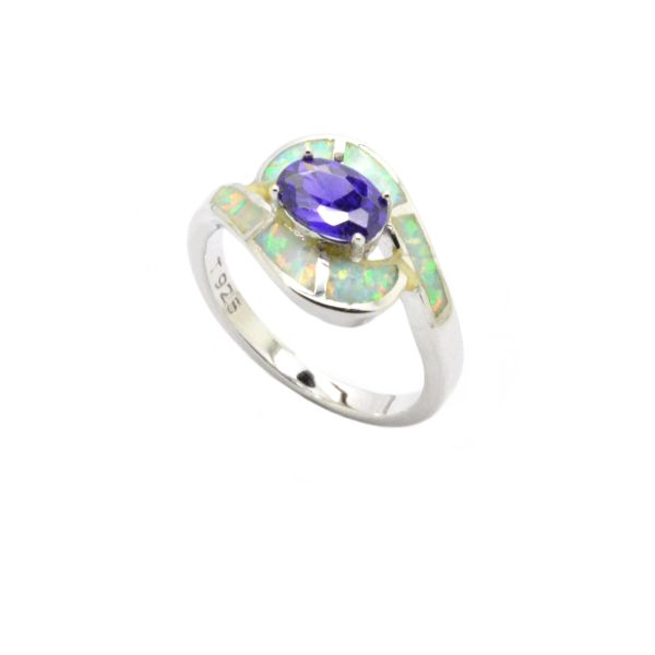 925 SILVER SIMULTAED INLAID WHITE OPAL RING WITH CZ AMETHYST CENTER STONE-11OP74-K17