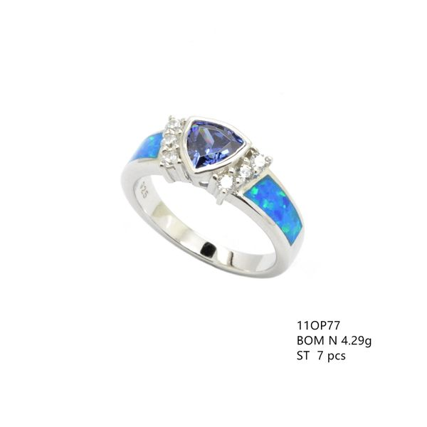 925 SILVER SIMULATE INLAID BLUE OPAL RING ,TRIANGLE CZ AMETHYST STONE CENTER RING-11OP77-K5-09