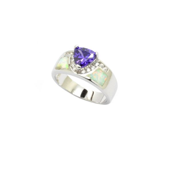 925 SILVER SIMULATED WHITE OPAL RING WITH TRIANGLE CZ TANZNITE STONE RING-11OP79-K17-TZ