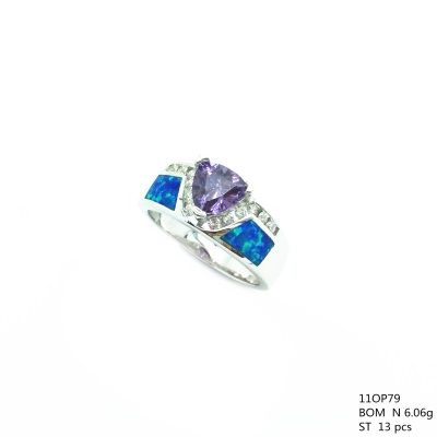925 SILVER SIMULATED BLUE OPAL RING WITH TRIANGLE CZ AMETHYST STONE RING-11OP79-K5-09