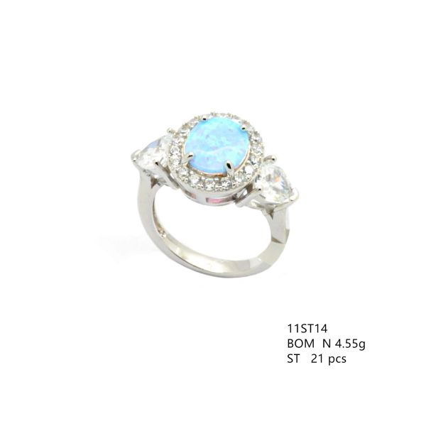 925 SILVER SIMULATED BLUE OPAL 3 STONE RING WITH CZ IN SIDES, 11ST14-K6