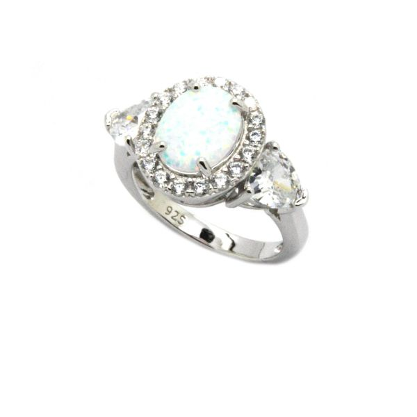 925 SILVER SIMULATED WHITE OPAL 3 STONE RING WITH CZ IN SIDES, 11ST14-K17