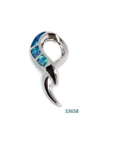 925 SILVER SIMULATED INLAID BLUE OPAL RIBBON PENDANT-33658-K5