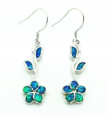 925 SILVER SIMULATED BLUE OPAL FLOWER DANGLING EARRINGS, 22OP46-K5