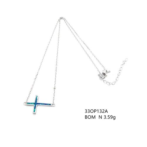 925 SILVER SIMULATED BLUE OPAL SIDE WAY CROSS NECKLACE, ADJUSTABLE, 33OP132A-K5