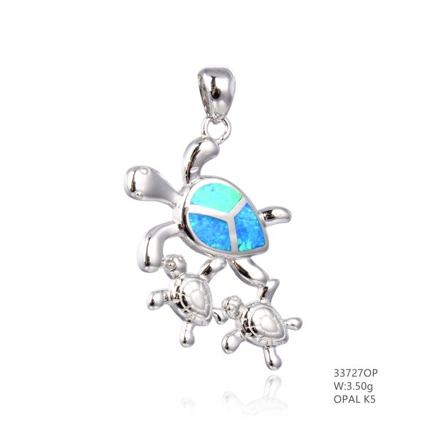 925 SILVER SIMULATED BLUE OPAL 3 TURTLE PENDANT - 33727-K5- BY TULU CO