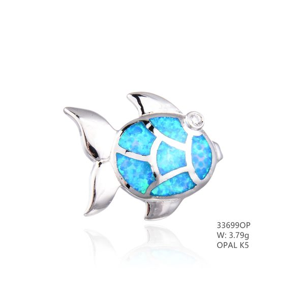 925 SILVER SIMULATED BLUE OPAL FISH PENDANT - 33699-K5- BY TULU CO