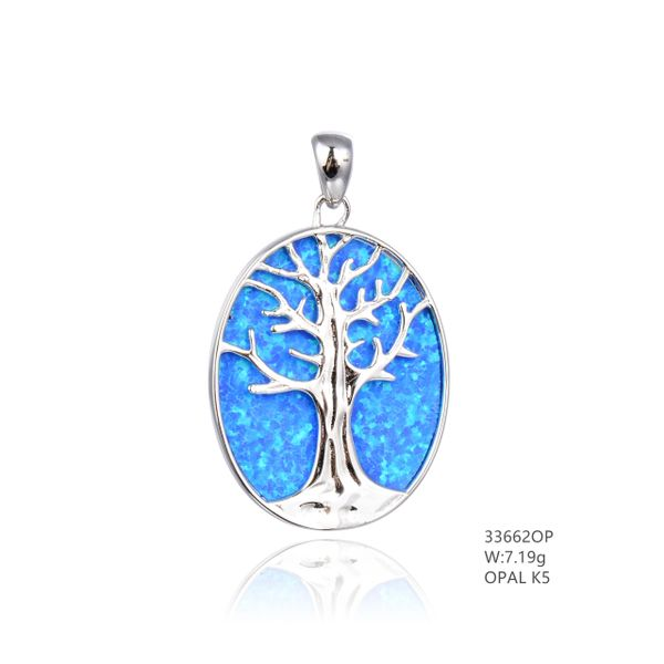 925 SILVER SIMULATED BLUE OPAL TREE OF LIFE PENDANT - 33662-K5- BY TULU CO