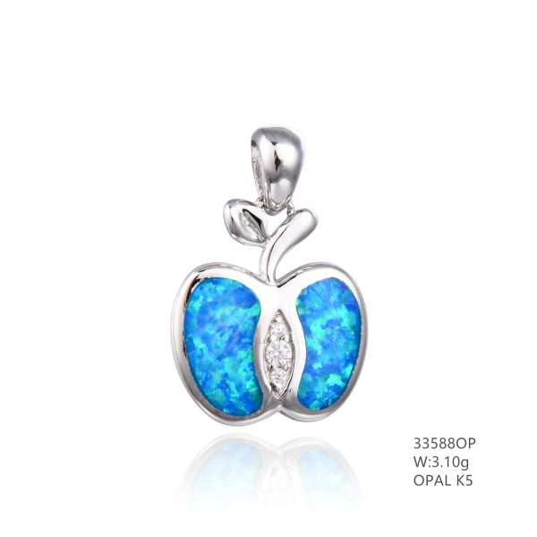 925 SILVER SIMULATED BLUE OPAL APPLE PENDANT - 33588-K5- BY TULU CO