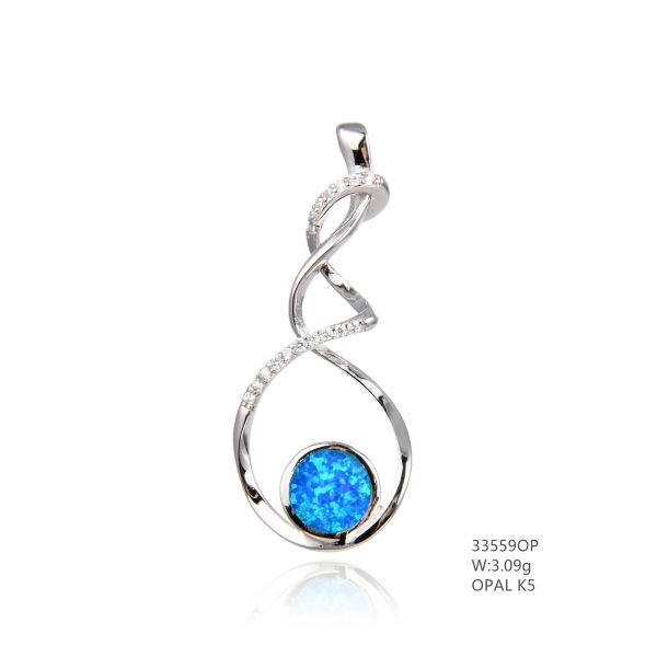 925 SILVER SIMULATED BLUE OPAL LIGHT PENDANT - 33559-K5- BY TULU CO