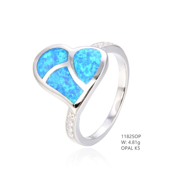 925 SILVER SIMULATED BLUE OPAL HEART RING-11825-K5-BY TULU CO