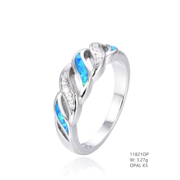 925 SILVER SIMULATED BLUE OPAL WAVES RING-11821-K5-BY TULU CO