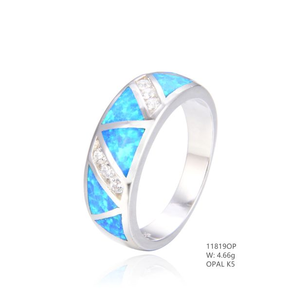 925 SILVER SIMULATED BLUE INLAID OPAL RING-11819-K5-BY TULU CO