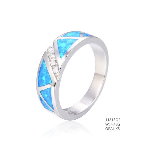 925 SILVER SIMULATED BLUE INLAID OPAL RING ZZ-11818-K5-BY TULU CO