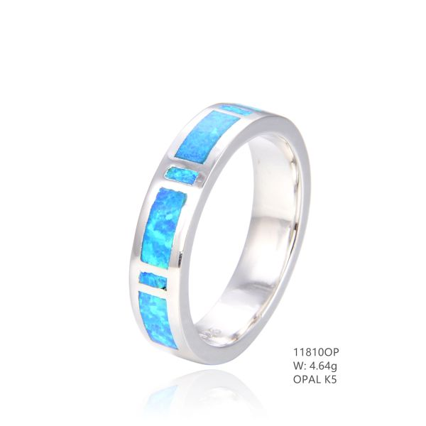 925 SILVER SIMULATED BLUE INLAID OPAL BAND RING 6MM-11810-K5-BY TULU CO