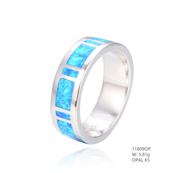 925 SILVER SIMULATED BLUE INLAID OPAL BAND RING 7MM-11809-K5-BY TULU CO