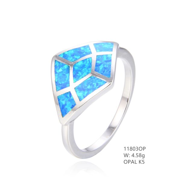 925 SILVER SIMULATED BLUE INLAID OPAL WIDE RING -11803-K5-BY TULU CO