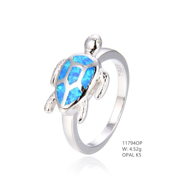 925 SILVER SIMULATED BLUE INLAID OPAL TURTLE RING-SEA LIFE -11794-K5-BY TULU CO