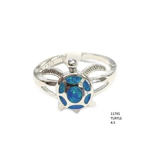 925 SILVER SIMULATED BLUE INLAID OPAL TURTLE RING-SEA LIFE -11791-K5-BY TULU CO