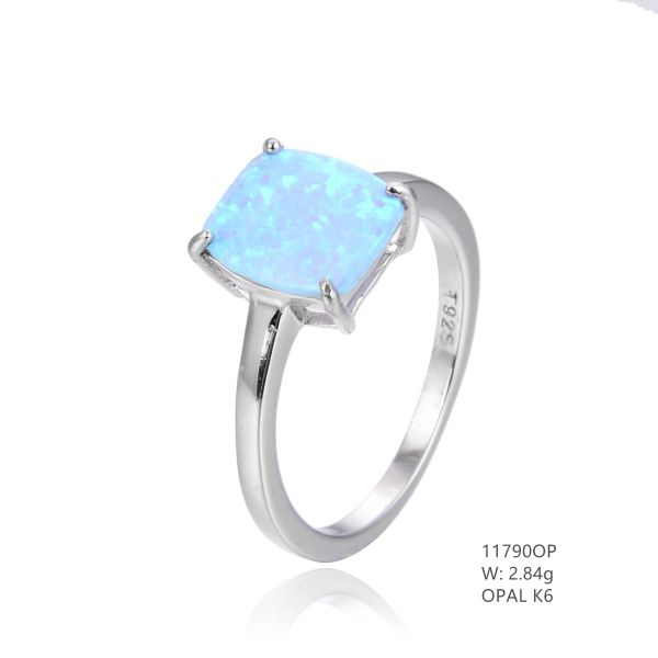 925 SILVER SIMULATED SOLITAIRE BLUE OPAL WEDDING RING- 11790-K6-BY TULU CO INC