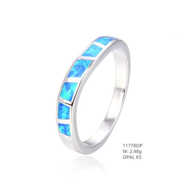 925 SILVER SIMULATED BLUE INLAID OPAL 4MM BAND RING -11778-K5-BY TULU CO